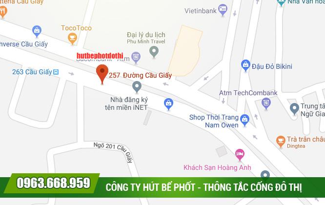 Địa chỉ hút bể phốt Đô Thị tại 257 đường Cầu Giấy, Cầu Giấy, Hà Nội